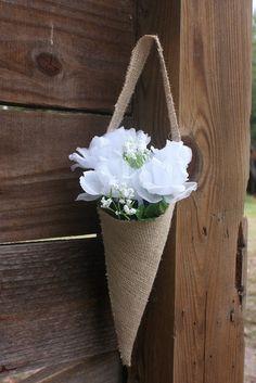 Burlap cone-flower girl or bridesmaide,home decor,housewares. $15.00, via Etsy.
