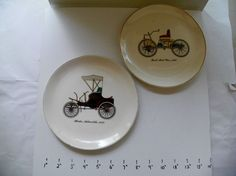 SALEM CHINA PLATES FORD'S FIRST CAR 1896 & WINTON AUTO 1898 23KT GOLD TRIM