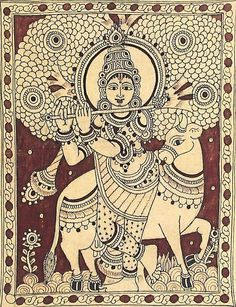 Kalamkari or Kalamkari. Kerala Mural Painting, Krishna Painting, Madhubani Painting, Indian Art Paintings, Krishna Art, Kalamkari Painting, Mandala Art Lesson, Madhubani Art, Indian Folk Art