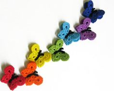 Items similar to Crocheted Butterfly Appliques Handmade 7 pieces rainbow mix or choose your color on Etsy Crochet Home, Knit Or Crochet, Learn To Crochet, Crochet Motif, Easy Crochet, Crochet Appliques, Crochet Butterfly, Vintage Crafts, Crochet For Beginners