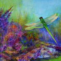 Green Dragonfly - art by Claire Bull   Framed and unframed prints available claire-bull.fineartamerica.com