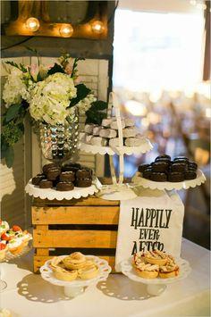 happily ever after sign at dessert table #weddingsign #weddingreception #weddingchicks http://www.weddingchicks.com/2014/03/24/shabby-chic-and-glam-wedding/