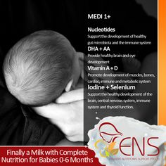 ENS MEDI 1+ Infant Formula  Nucleotides: Support the development of healthy gut microbiota and the immune system  DHA + AA: Provide healthy brain and eye development  Vitamin A + D: Promote development of muscles, bones, cardiac, immune and metabolic system  For more information visit our website at http://www.ens.global/ or contact our customer service for more information through email at info@ens.global.  #InfantFormula #Milk #ENS #ENSMedi #Baby #babycare #babymilk #babyformula…