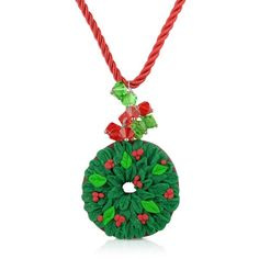 Dolci Gioie Christmas Wreath Necklace ($198) ❤ liked on Polyvore featuring jewelry, necklaces, christmas, accessories, gioielli, green, lace jewelry, special occasion jewelry, sparkle jewelry and leaf jewelry