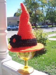 crochet - Newborn Witches Crocheted Hat - free halloween witches hat pattern - #crochet