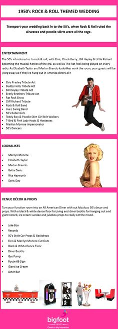 1950's Rock & Roll Themed Wedding Ideas. Suggestions for entertainment, music, meet and greet artists, decor and props for a rocking 50's theme! See more fifties themed pictures here - http://pinterest.com/bigfootevents/1950s-rock-roll-themed-event/