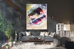 Large Abstract Painting,bright painting art,extra large abstract,large abstract art,textured paintings FY0030