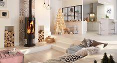 Un poêle à bois noir pour u  style design