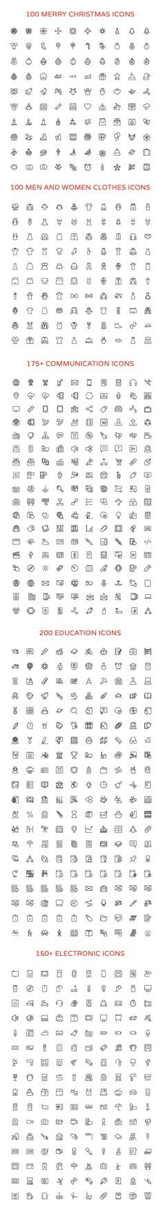 2800+ Line Vector Icons Bundle by Creative Stall on @creativemarket