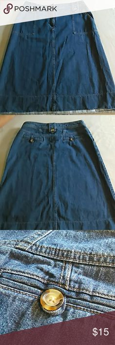 Kim Rogers Jean Skirt This long blue jean skirt by Kim Rogers is a size 14 and made of 100% cotton. It measures 17 2/2 inches across the waist while laying flat and 30 inches long. It features pockets in the front belt loops and pockets in the back. Color is lighter than shown and is best seen in picture 3. Kim Rogers Skirts