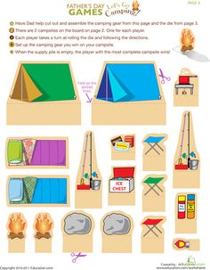 Worksheets: Let's Go Camping! collect the camping gear...several things we can do with this game :) of voor kijkdoos met zoekopdracht