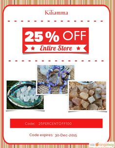 We are happy to announce 25% OFF a $100 purchase! Coupon Code: 25PERCENTOFF100 Min Purchase: 100.00 Expiry: 30-Dec-2015 Click here to view all products: Click here to avail coupon: https://orangetwig.com/shops/AAAPL7A/campaigns/AABsKju?cb=2015012&sn=Kiliamma&ch=pin&crid=AABsKkk