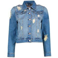 Boohoo Blue Alice Western Denim Jacket (330 GTQ) ❤ liked on Polyvore featuring outerwear, jackets, denim wrap jacket, puffy jacket, jean bomber jacket, blue jackets and cowboy jacket