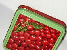 Vintage Cherry Cherries tin // jadite green and by SkyWayVintage