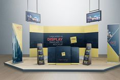 Buy Various Tradeshow Exhibition Booth Mockups by Vectogravic on GraphicRiver. Various Tradeshow Exhibition Booth Mockups give more choices to display your tradeshow booth. Display Mockup, Tv Display, Signage Display, Signage Design, Trade Show Booth Design, Collateral Design, Backdrop Design, Simple Business Cards, Exhibition Display