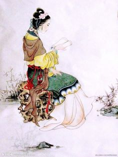 探春 Tanchun (Quest Spring) reading, from 紅樓夢 Honglou Meng