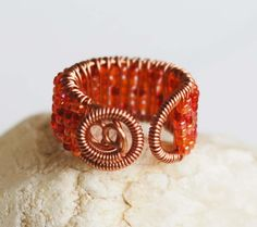 Copper Wire Wrap Orange Red Seed Bead Cocktail Ring