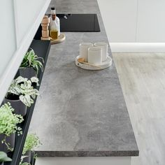 Make an ultra-modern statement in your kitchen with this grey concrete effect square edge worktop. Laminate Countertops, Concrete Countertops, Concrete Floors, Concrete Kitchen Countertops, Kitchen Worktops, Concrete Lamp, Concrete Design, Stained Concrete, Home Decor Kitchen