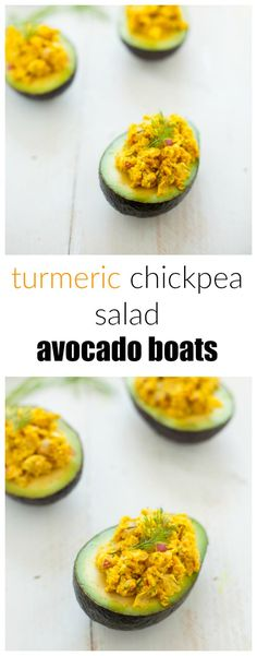 The perfect light and refreshing lunch (or dinner!), these turmeric chickpea salad avocado boats are packed with flavor and nutrition.