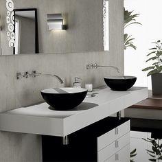 Pia de porcelanato com cuba de apoio redonda preta Double Vanity, House Design, Interior Design, Bathroom, Home, Amazing Bathrooms, Half Bathroom Decor, Tiny Half Bath, Future House