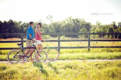engagement photo session with bikes