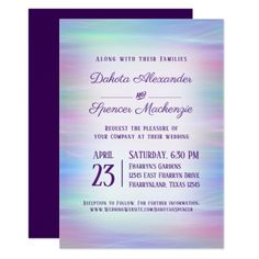Whimsical Wedding Colorful Pastel Romantic Rainbow Card - tap, personalize, buy right now! Whimsical Wedding Gifts, Romantic Wedding Gifts, Romantic Wedding Receptions, Romantic Weddings, Wedding Ideas, Watercolor Wedding Invitations, Elegant Wedding Invitations, Wedding Invitation Cards, Wedding Cards