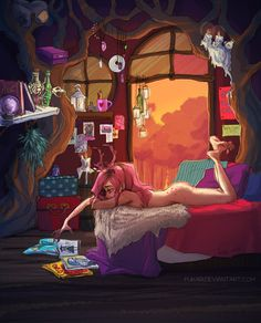 """Anne Marie lives in forest, in funny tree house. spending her days at witchcraft and running naked throug forest. sometimes G visited her, bringing her some gifts, magazines, silly things from a """"h..."""