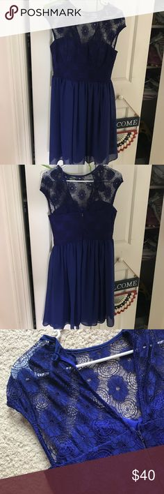 Modcloth royal/navy blue lace top dress Excellent condition, worn once ModCloth Dresses