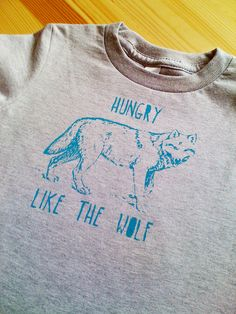 Hungry Like The Wolf- 80s style Screen Print Toddler Kids Tee. $18.00, via Etsy.