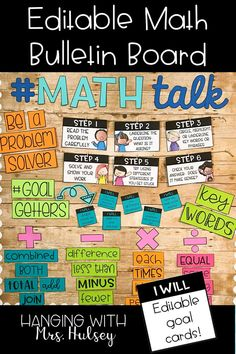This math themed bulletin board kit comes with editable goal cards, problem solving posters, key word labels, titles, and more! A great way to display math solving strategies all year long! Math Wall, Math Word Walls, Math Bulletin Boards, Math Boards, Math Key Words, Math Classroom Decorations, Classroom Ideas, Classroom Board, Fourth Grade