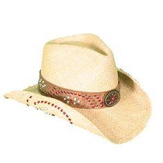b19b405da7e Womens Straw Hat with colored studs Cowboy Hats