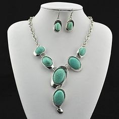 USD $ 12.99 - Vintage Antique Silver Turquoise(Include Necklace and Earring) Jewelry Set (Green), Free Shipping On All Gadgets!