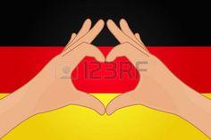 Ilustración del vector de la bandera de Alemania y las manos haciendo una forma de corazón