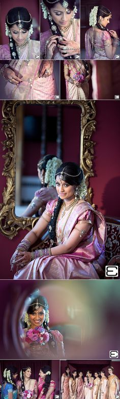 Traditional South Indian bride wearing bridal saree and jewellery.