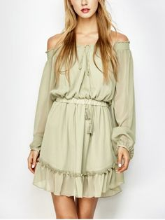 GET $50 NOW | Join RoseGal: Get YOUR $50 NOW!http://www.rosegal.com/chiffon-dresses/off-the-shoulder-chiffon-dress-1039906.html?seid=8648200rg1039906