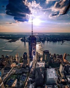 Celestial shot of the One World Trade Center in New York City