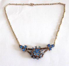 VINTAGE ART DECO GOLD TONE BLUE GLASS CRYSTAL ORANTE FLOWER CHAIN NECKLACE