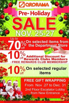 Great Christmas shopping will be more exciting and a bit early at Ororama Department Store. Plus big discounts and FREE gift wrapping starting November 27 up to end of December 😉 Free Rewards, Holiday Sales, Department Store, Christmas Shopping, November, Gift Wrapping, Shit Happens, Big, Gifts
