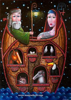 Noah's Ark by Zurab Martiashvili Colorful Paintings, Beautiful Paintings, Bible Illustrations, Illustration Art, Noahs Arc, Arte Judaica, Nautical Art, David, Jewish Art