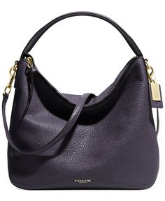 COACH Bleecker Sullivan Hobo Bag in Ultra Navy Blue Pebbled Leather with Gold Hardware