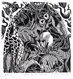 Ark Bound Creatures ~ Linocut by Elizabeth Rashley