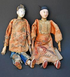 Pair Antique Chinese Opera Dolls