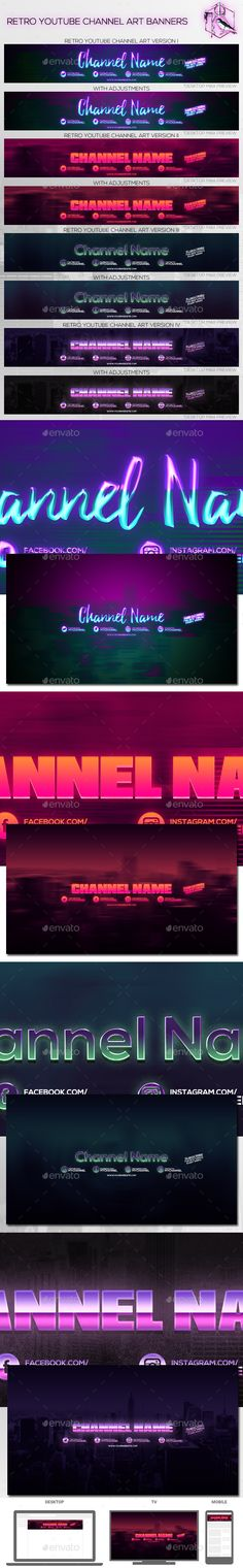 4 Retro Youtube Channel Art Banners