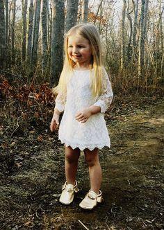 Girls white dress. White lace flower girl dress. by KadeesKloset