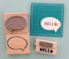 Word bubble and Hello carved by Melody Hyde. The amazing card was created by Angie Backman.