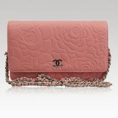 Chanel Pink Leather Camellia Wallet On Chain Woc Handbag. Love this!!! <3