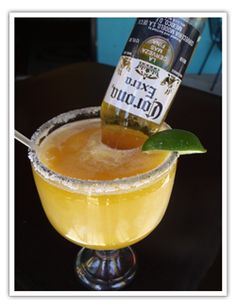 Margarona: Take a margarita and shove an open mini Corona in it. LOVE THESE!