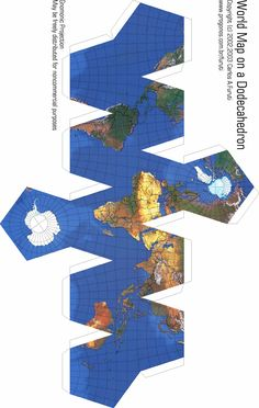 Map projections: maps on a dodecahedron Origami Paper Art, 3d Paper Crafts, Diy Origami, Diy And Crafts, Cardboard Toys, Paper Toys, Geometric Origami, Globe Art, Paper Models