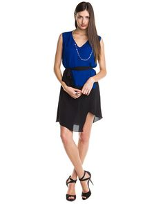 Anagram Neptune and Black Colorblocked Tie Dress