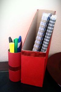 Cereal Box Organizer + Toilet Paper Roll Pencil Holder -- cost $1.50